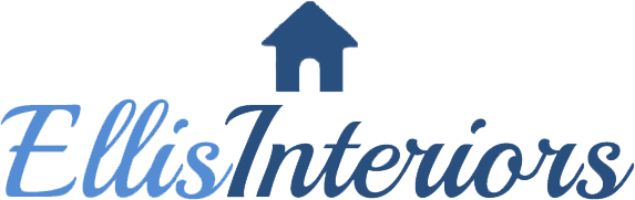 The logo of Ellis Interiors featuring a small blue house with the words Ellis Interiors underneath in two different shades of blue.