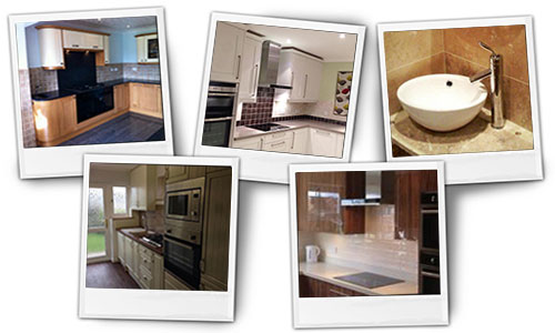 A selection of polaroid like photos showing 5 projects carried out by Ellis Interiors.